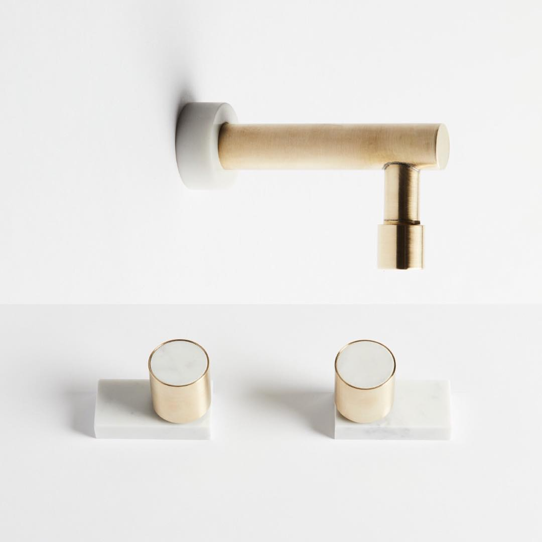 Brass and marble tapware