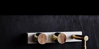 Brass marble and wood tapware