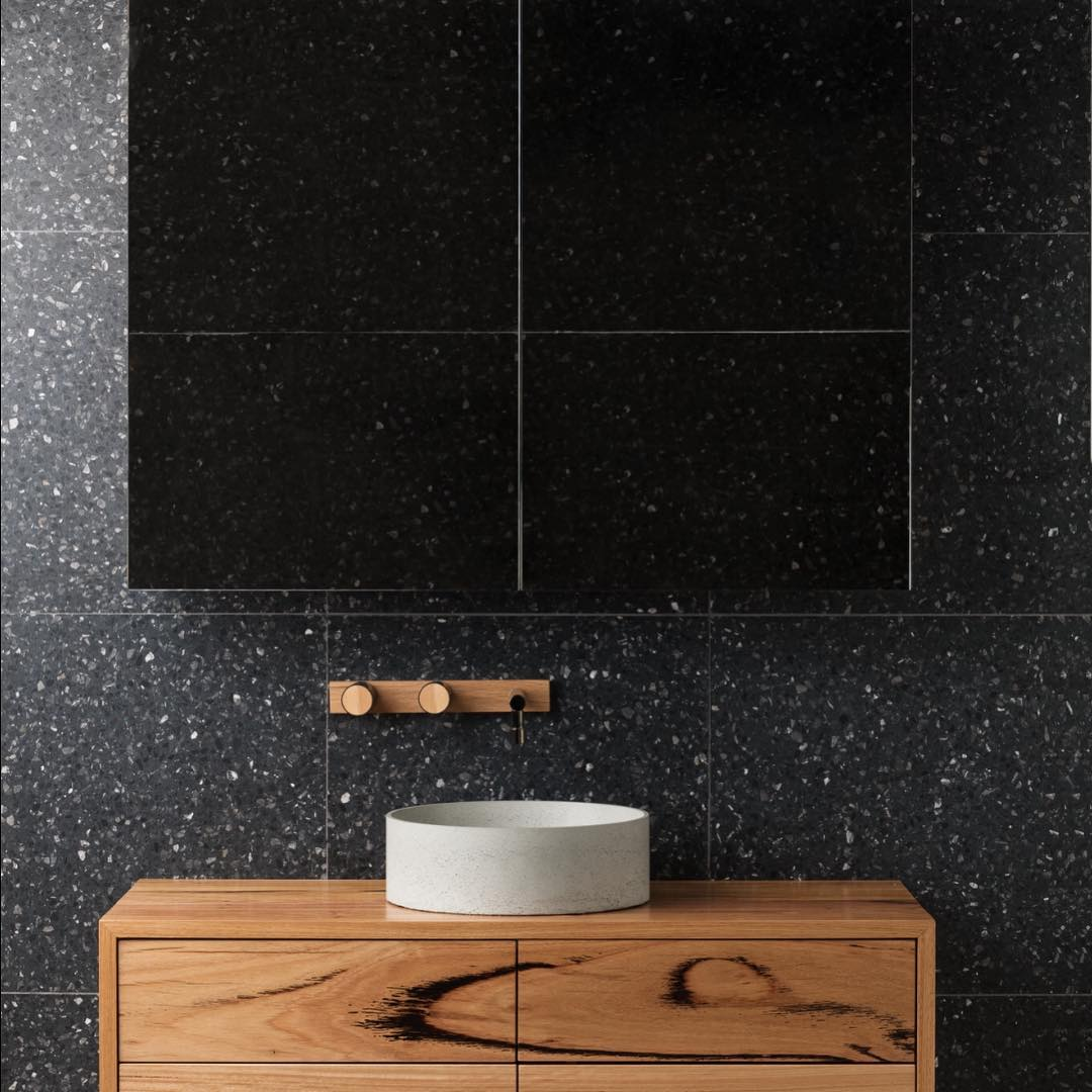Wood Melbourne concrete basin and timber tapware