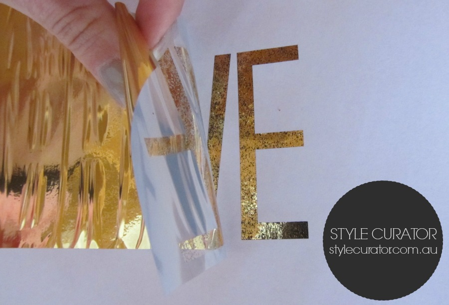 DIY gold foil art_gold sticks to black ink