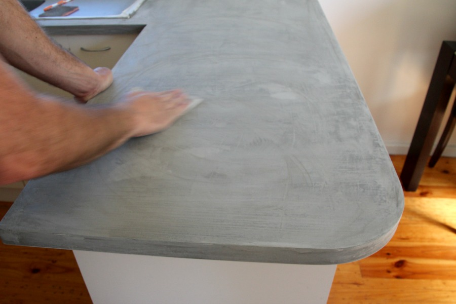 Diy concrete countertop sand the kitchen bench well solutioingenieria Gallery