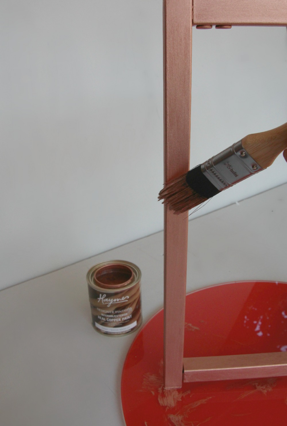 Paint frame with copper paint