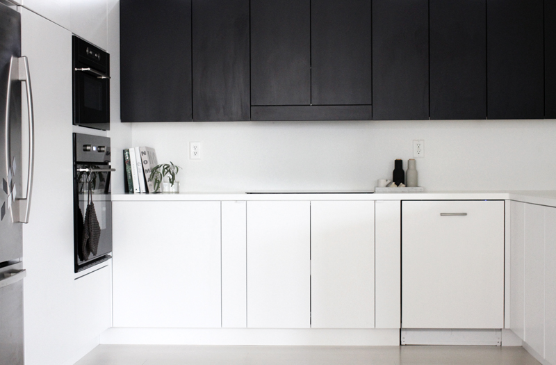Black and white kitchen cabinetry