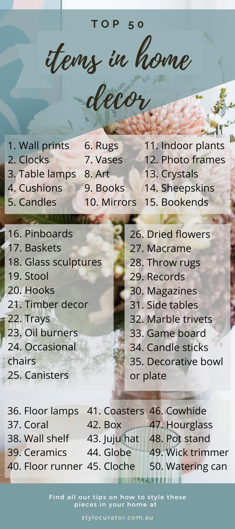 Top 50 items in home decor