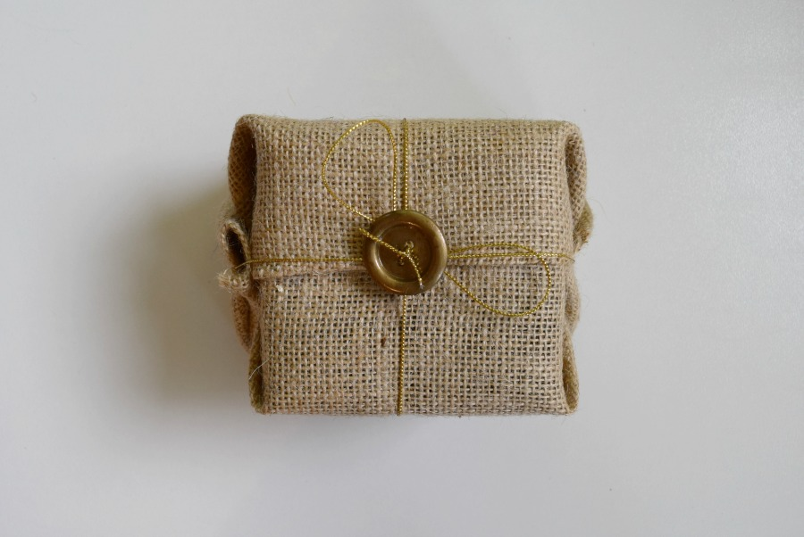 Hessian gift wrapping