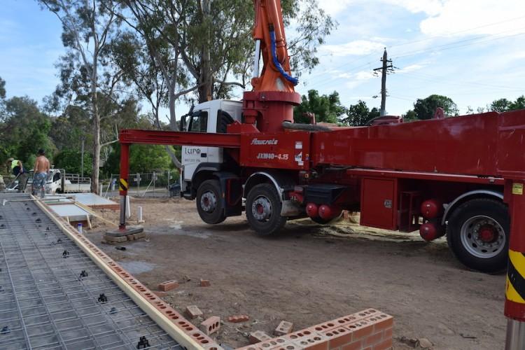 Concrete truck suspended