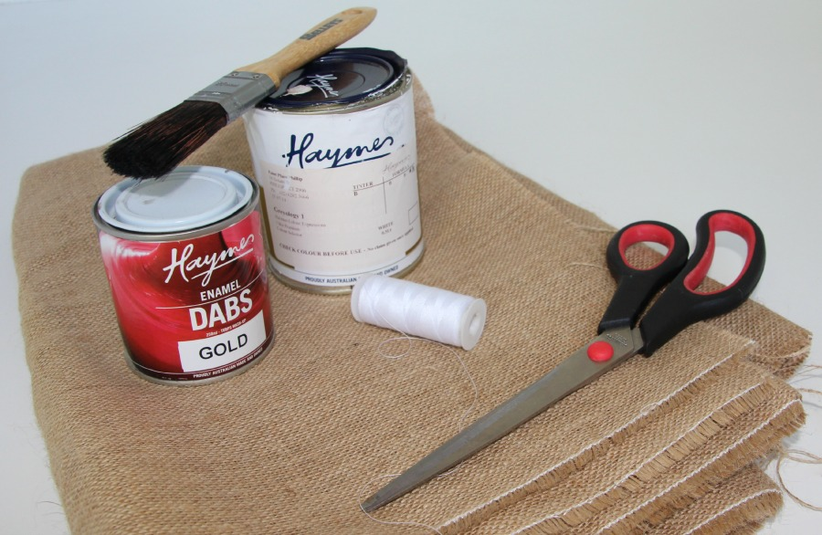 Items you will need to make DIY Hessian Pot Holder