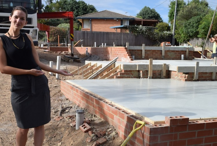 Gina and concrete slab