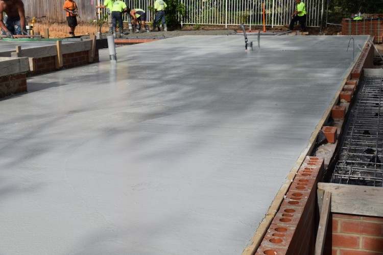 Pouring the concrete slab
