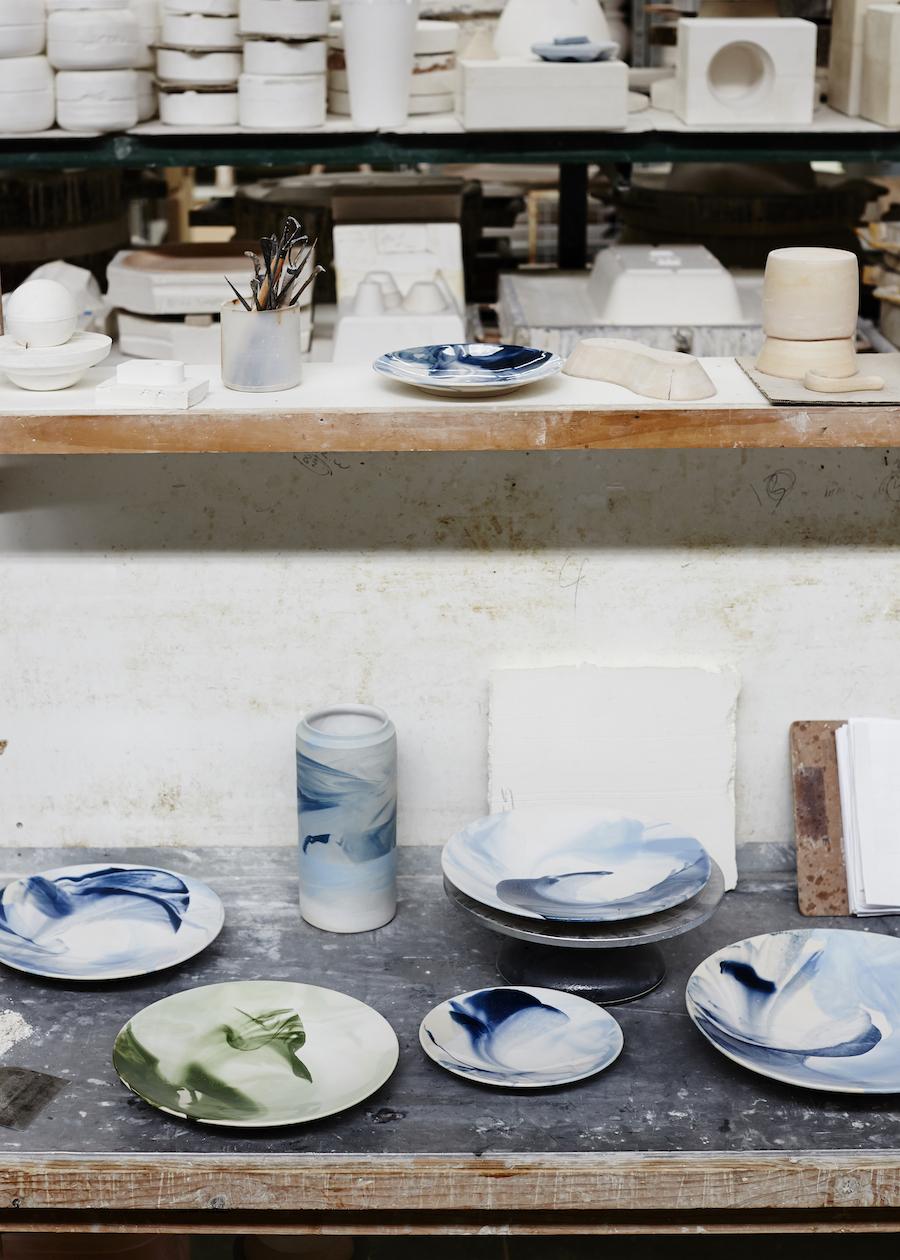 Robert Gordon Australia and The Design Files tableware blue swirl
