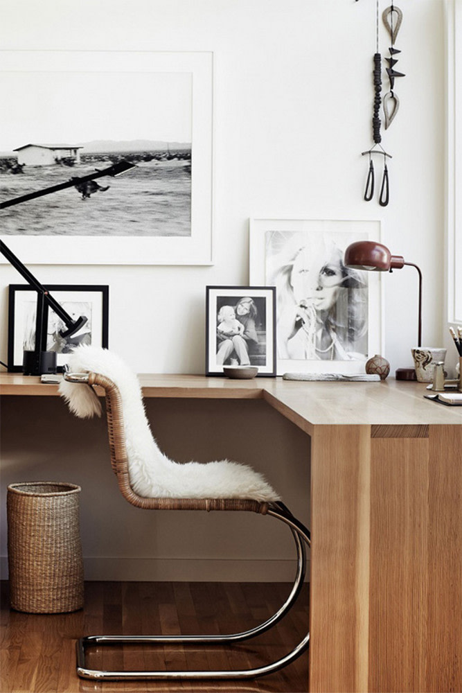 Scandi office with fluffy rug