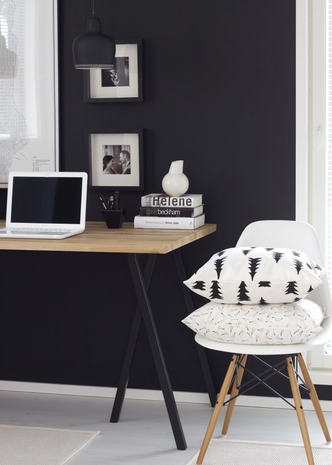 Office with black wall