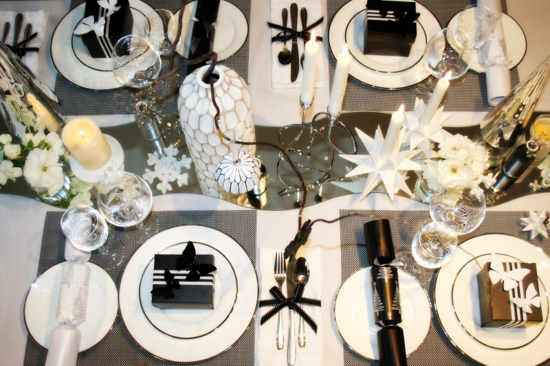 Classic black and white Christmas setting