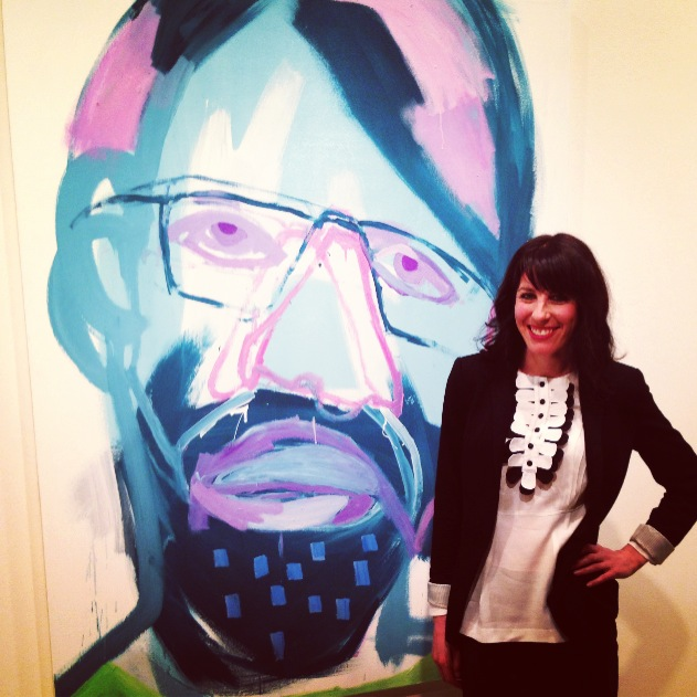Mia Oatley at the AGNSW on the Archibald night with her painting of Tim Maguire entitled THE REAL THING