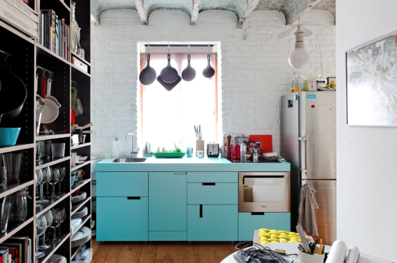 Light blue kitchen cabinets from Gut Gut via Houzz