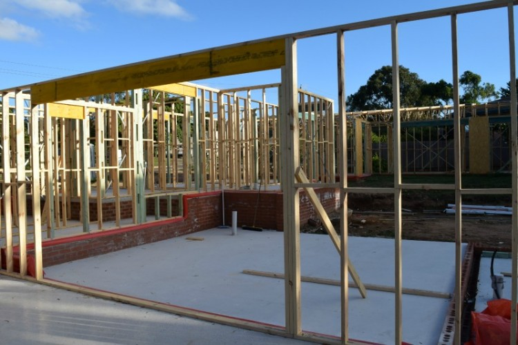 Sliding doors to outdoor entertaining area frames and trusses