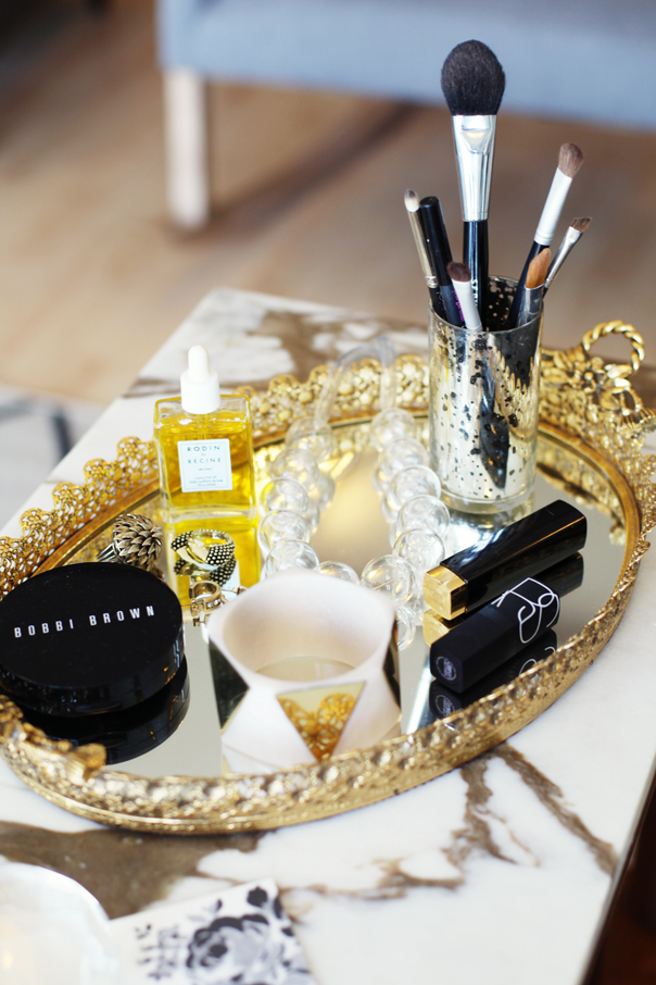 Vanity tray via Glitter Guide