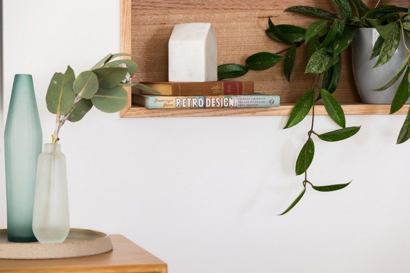 In wall timber shelves