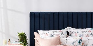 Navy upholstered bedhead