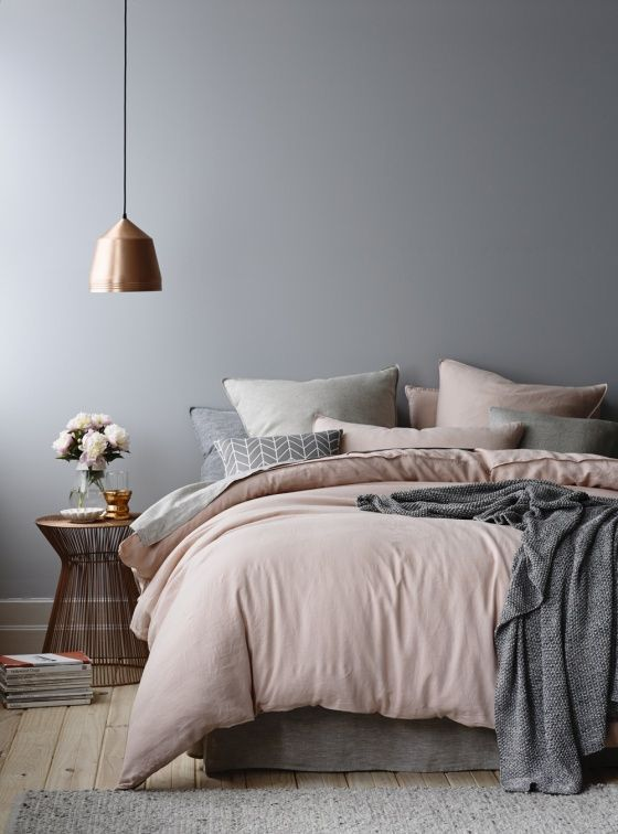 copper pendant and blush grey bedding - White Grey Bedroom