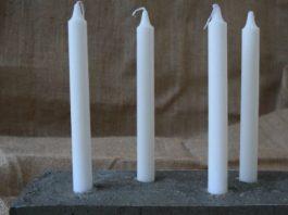 DIY concrete candleholder feature