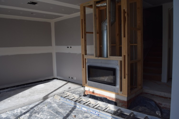 Fireplace installed in living area