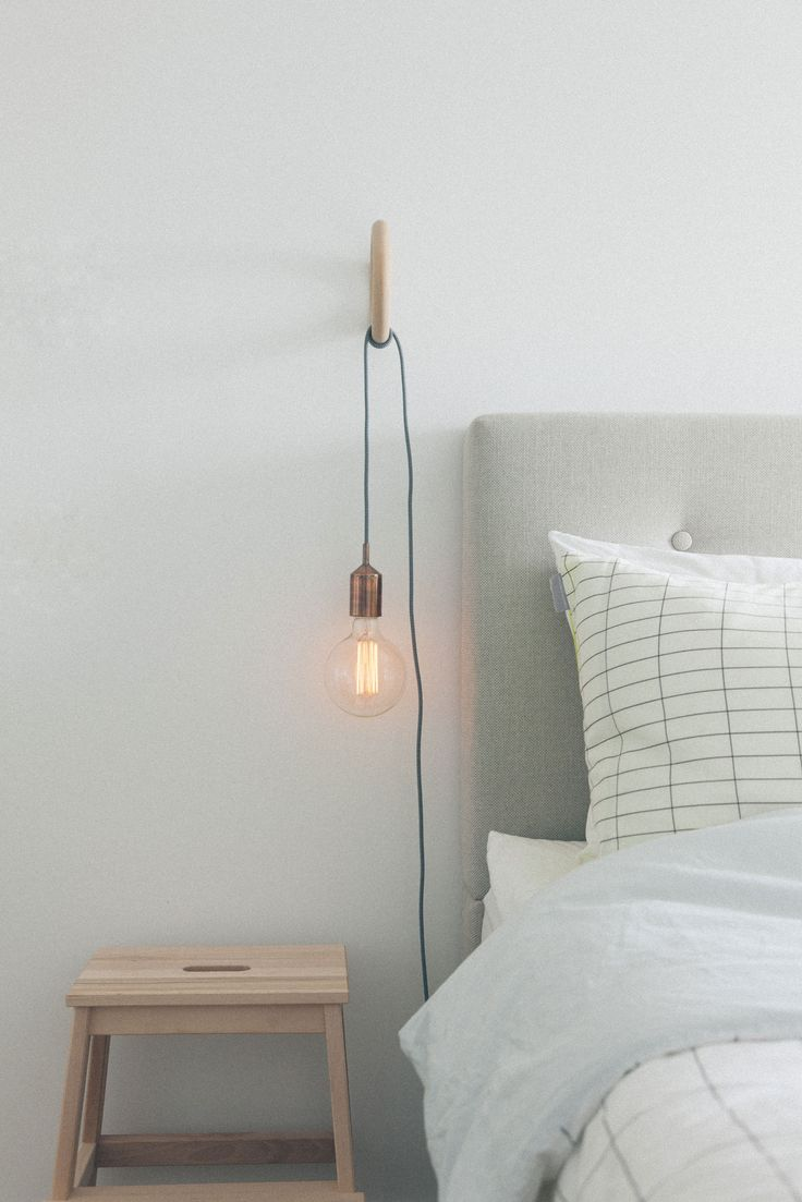 Copper Bedside Wall Lamps : White, Grey and Copper Bedroom