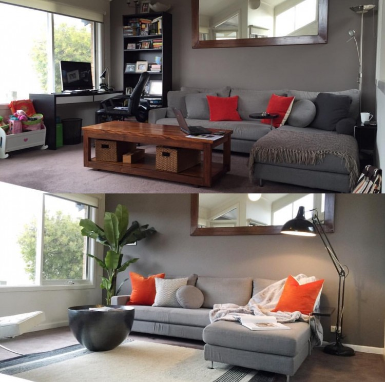 Before and after decluttering with The Real Estate Stylist