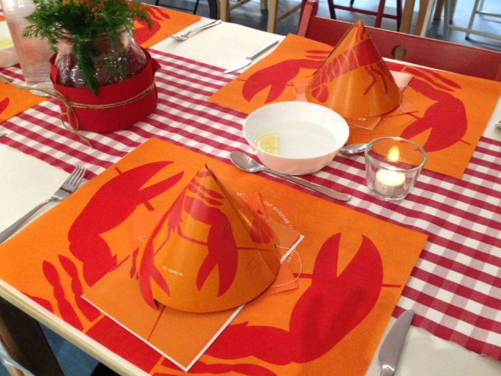 Cute table settings for our crayfish party