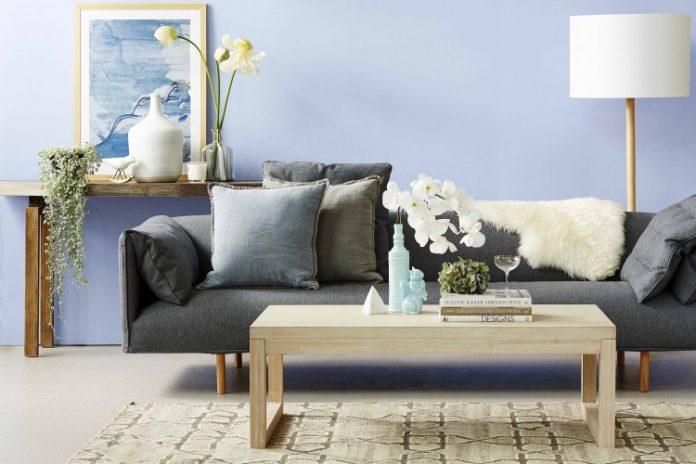 Lavender blue living room
