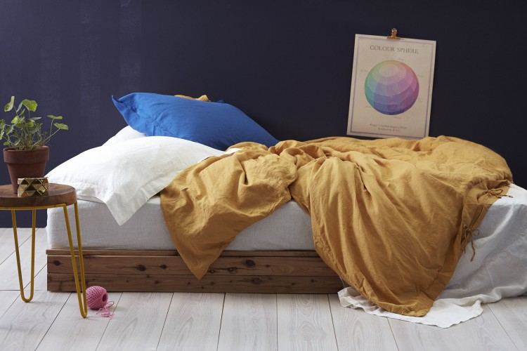 Mustard and blue bedroom
