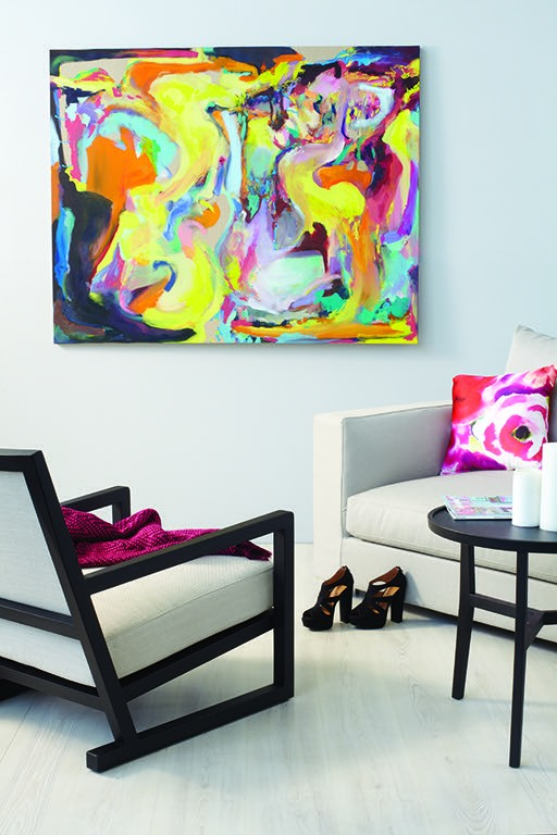 Bold artwork in living room