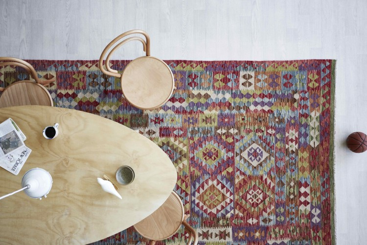 Table and persian rug