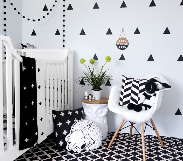 Bold black and white nursery via Interiors Addict