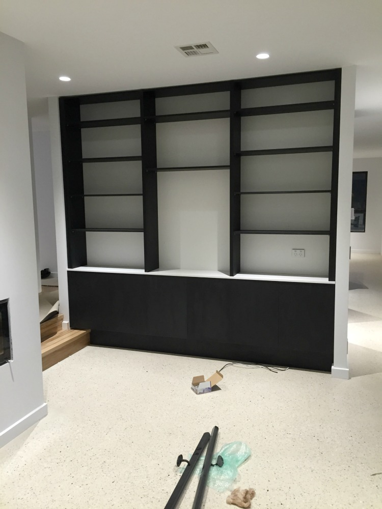 Living room book case construction update