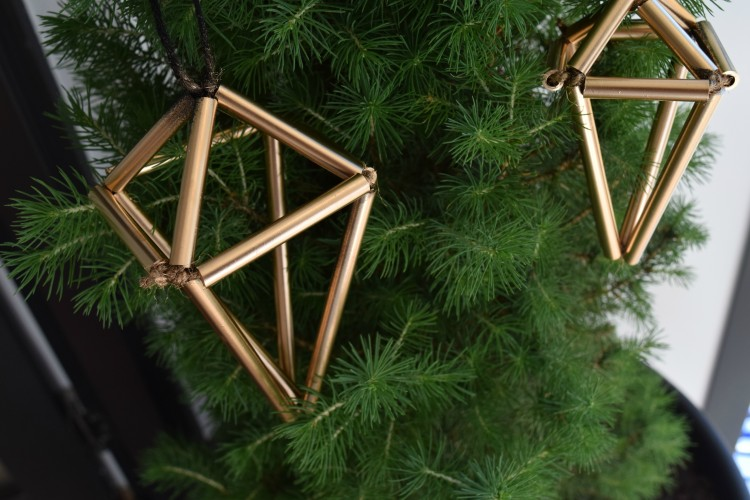 DIY geometric Christmas ornaments