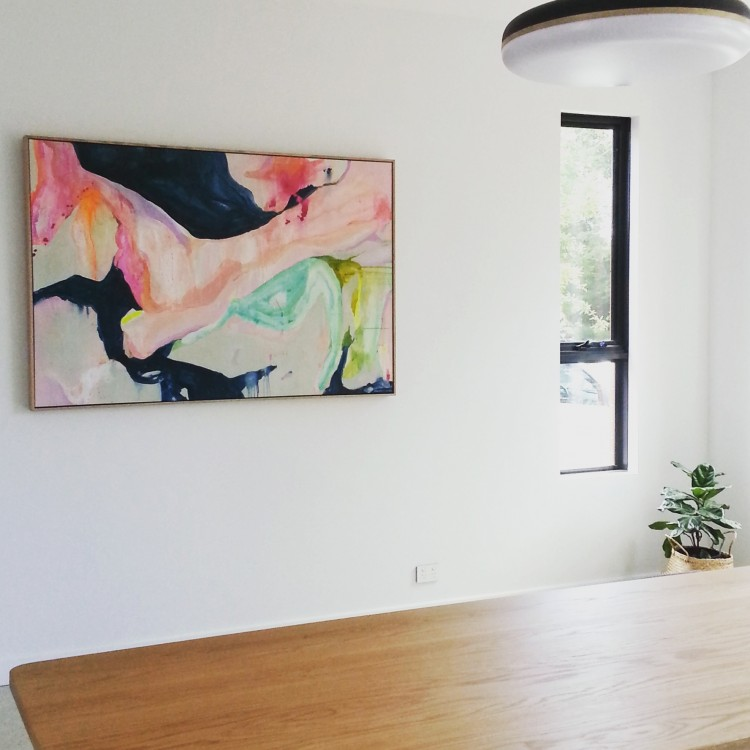 Annie Everingham artwork in dining room