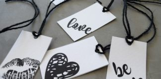 Close up of gift tags