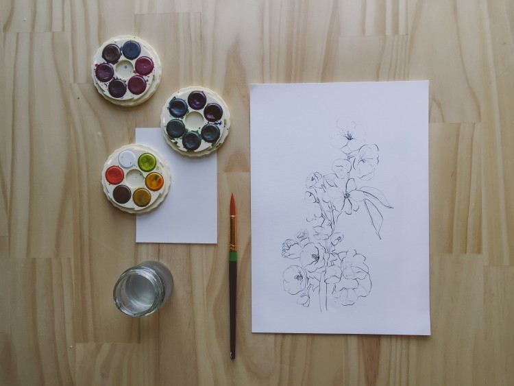 DIY watercolour floral artwork