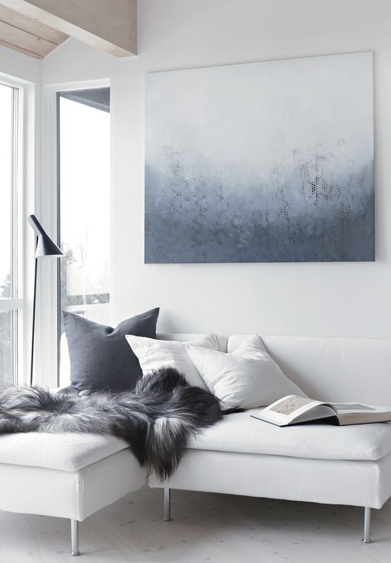 Grey interior Amazing Spaces Transformed by Artwork