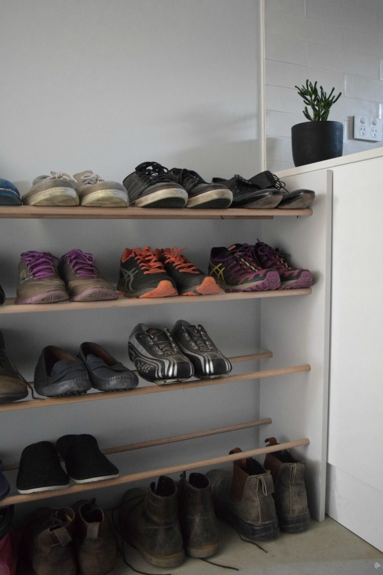 Before and after, messy shoe storage gets a makeover with a DIY dowel shoe rack