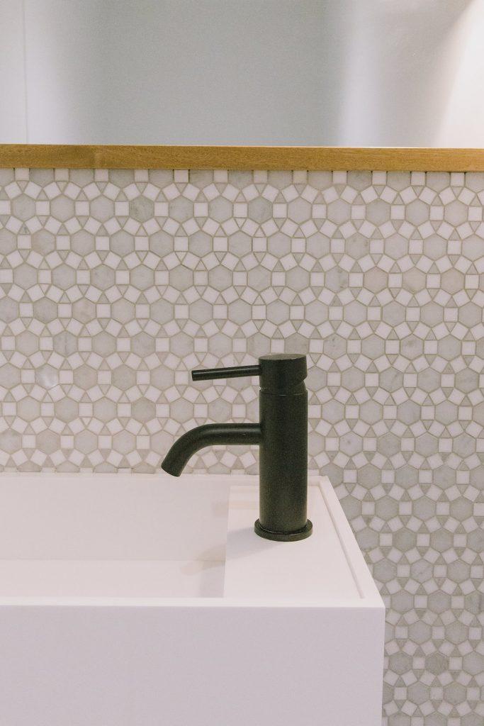 Close up sink details in powder room