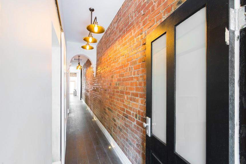 Red brick hallway