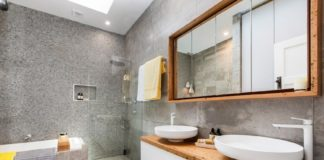 Grey and timber bathroom