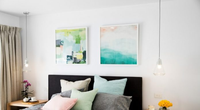 Artwork above bed