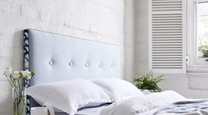 Light blue bed head