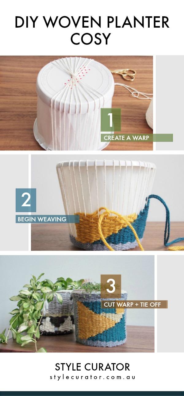 DIY woven planter cosy