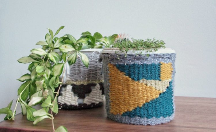 Woven planter cosy tutorial, Make a pot plant weave