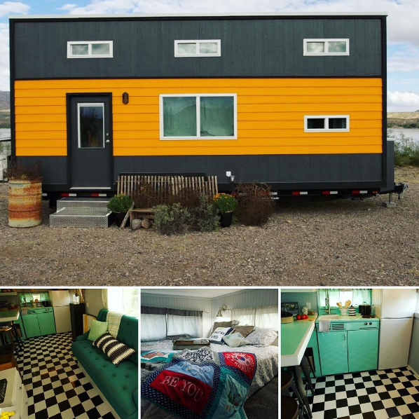 Yellow and black tiny house