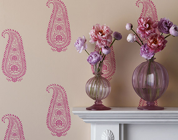 Collette Dinnigan paisley wallpaper for Porter's Paints